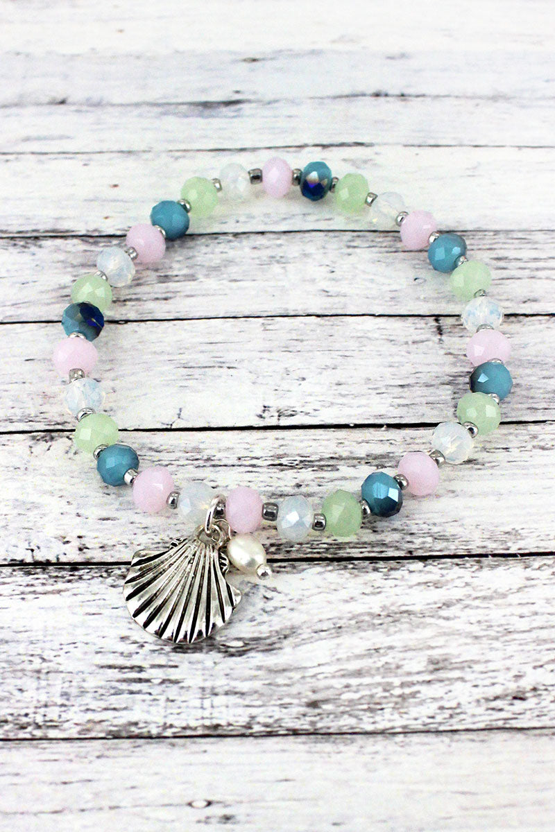 Silvertone Seashell Charm Light Multi-Color Beaded Bracelet