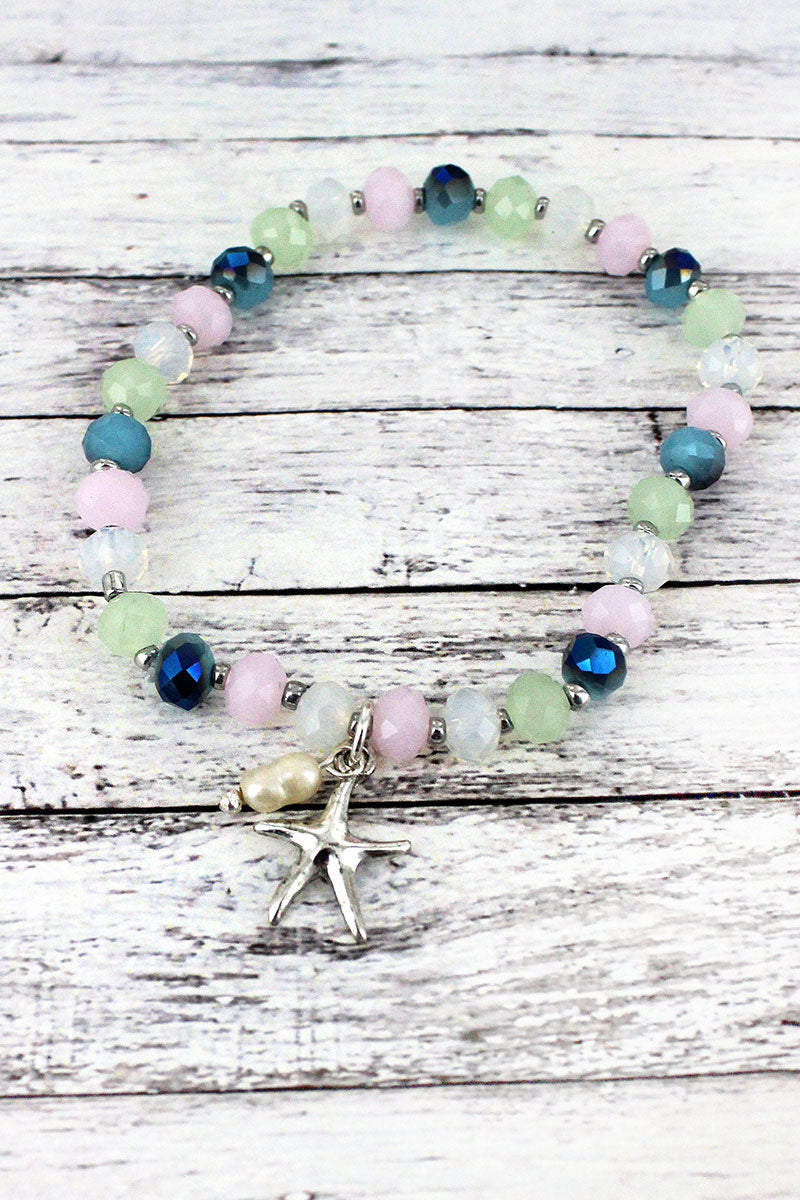 Silvertone Starfish Charm Light Multi-Color Beaded Bracelet