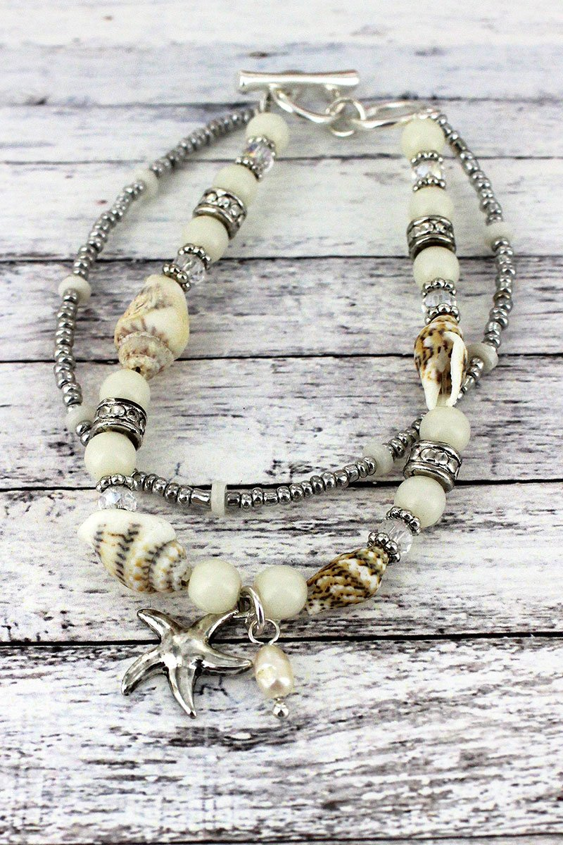 Silvertone and White Shell Beaded Starfish Charm Toggle Bracelet