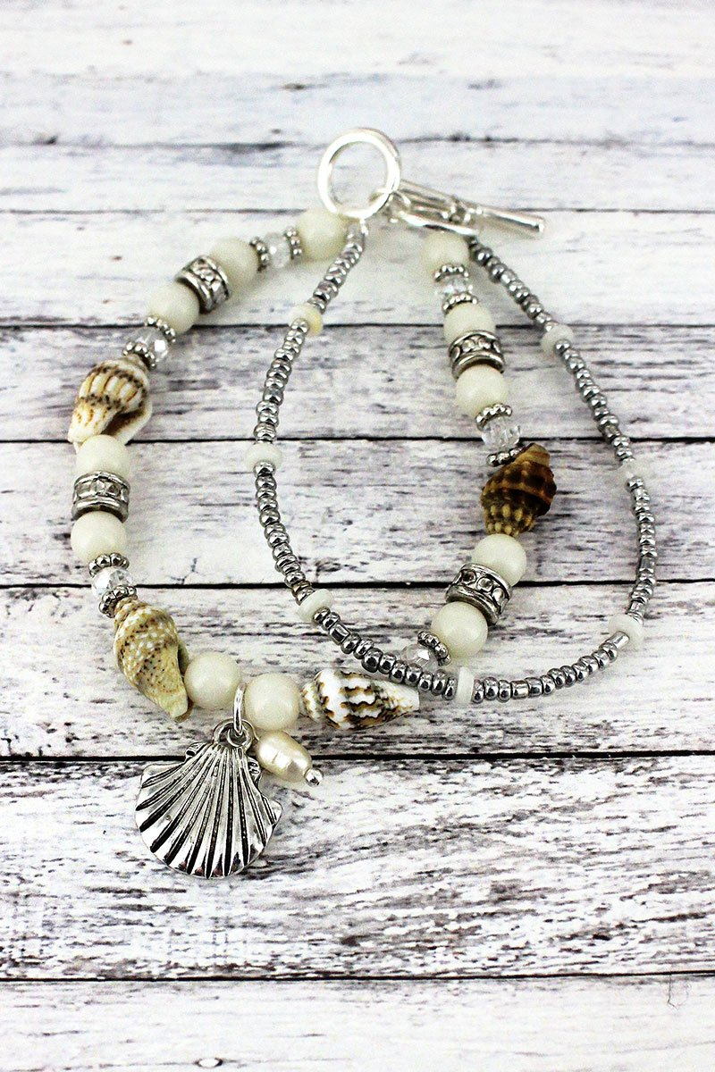 Silvertone and White Shell Beaded Seashell Charm Toggle Bracelet
