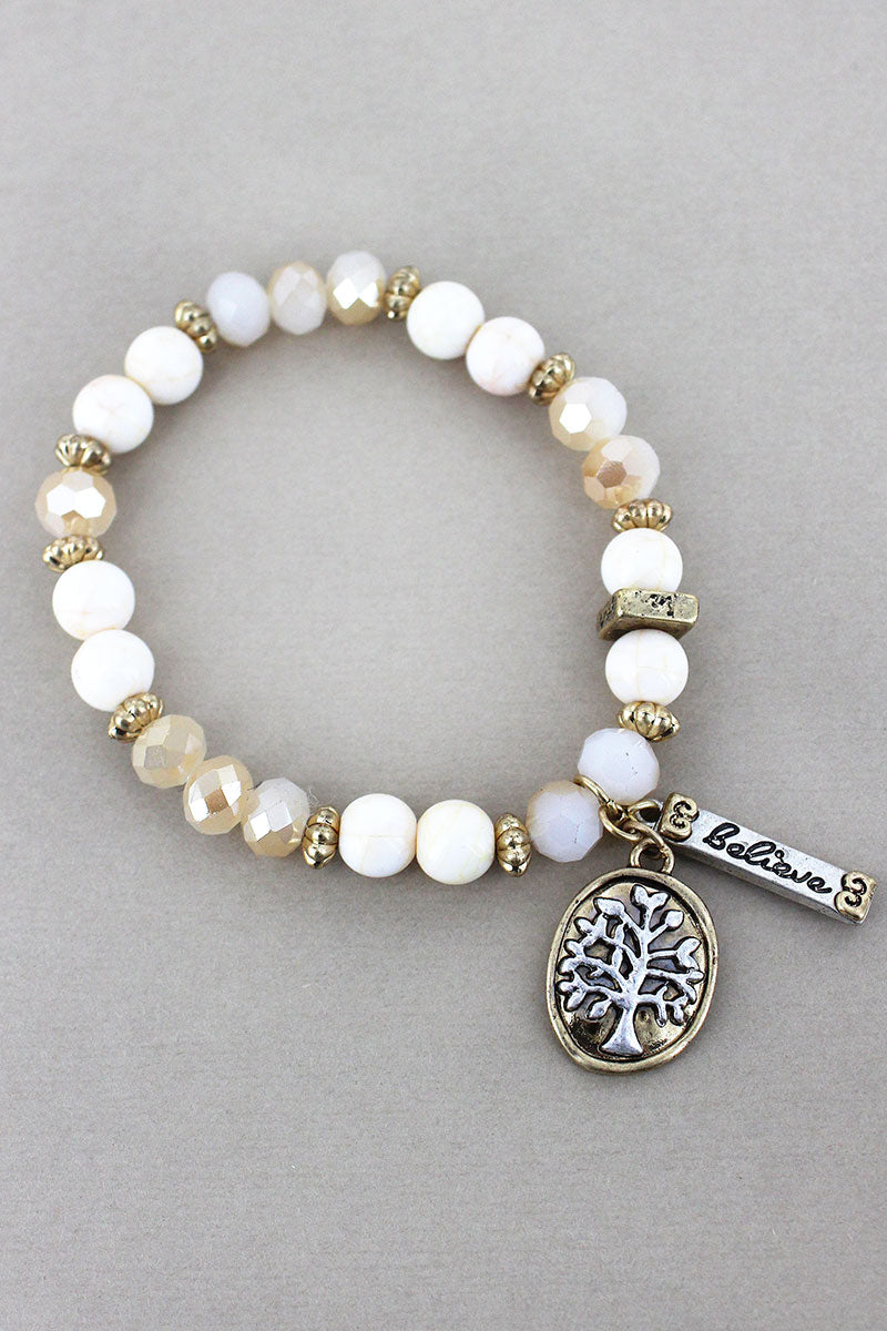 Tree of Life and 'Believe' Charm Ivory Beaded Bracelet