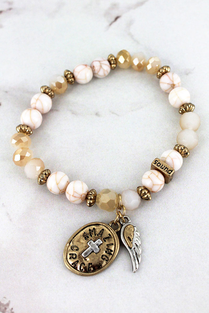 Wing and 'Amazing Grace' Cross Charm Ivory Beaded Bracelet