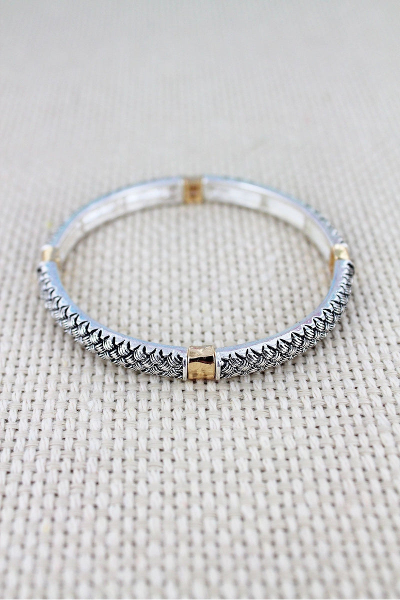 Two-Tone Basket Weave Stretch Bracelet