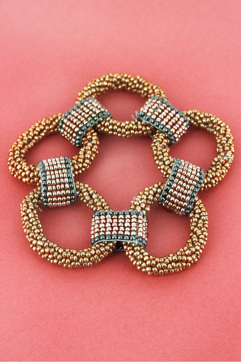 Gold and Two-Color Seed Bead Link Bracelet