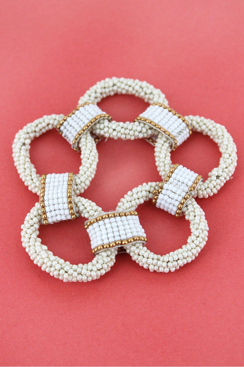 Ivory and Two-Color Seed Bead Link Bracelet