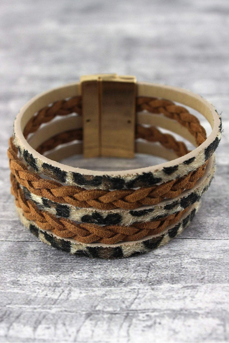 Brown Leopard and Braided Faux Leather Multi-Strand Magnetic Bracelet