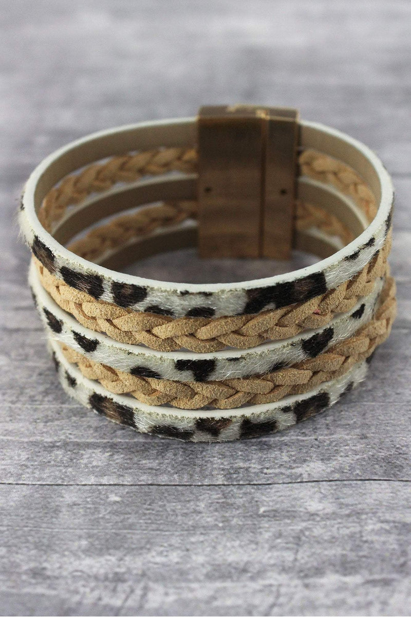 Ivory Leopard and Braided Faux Leather Multi-Strand Magnetic Bracelet