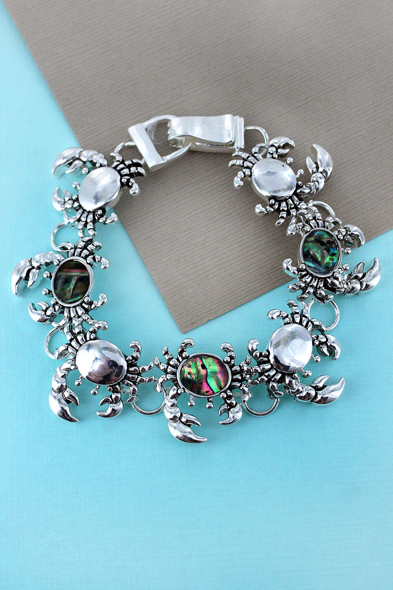 Silvertone and Abalone Crab Magnetic Bracelet