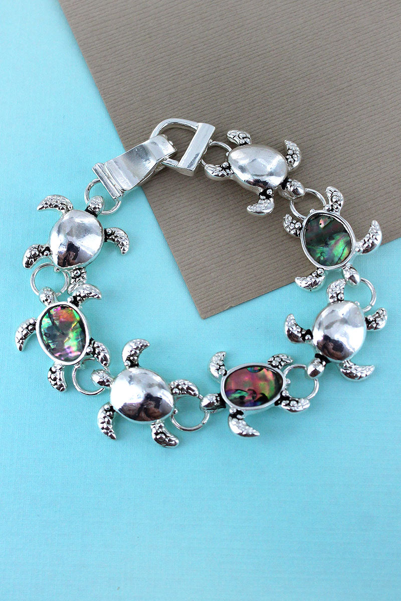 Silvertone and Abalone Turtle Magnetic Bracelet
