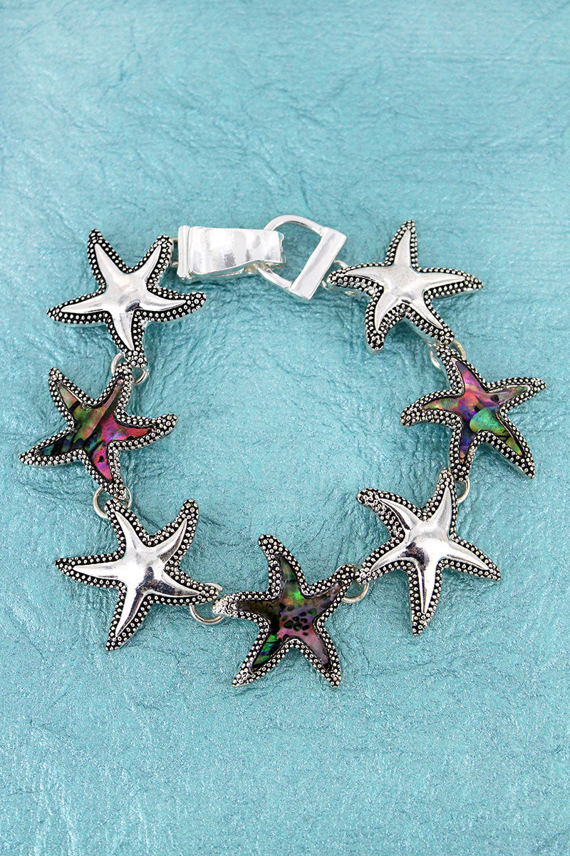 Silvertone and Abalone Starfish Magnetic Bracelet