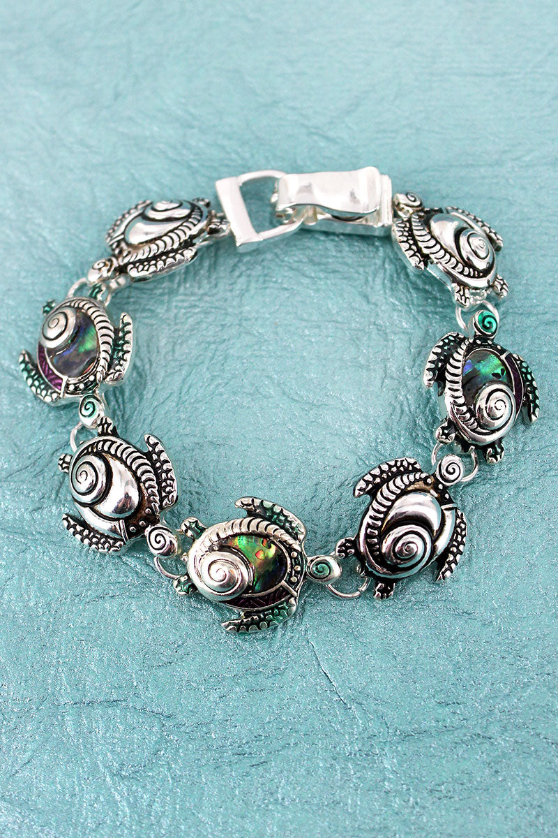Silvertone and Abalone Turtle Swirl Magnetic Bracelet