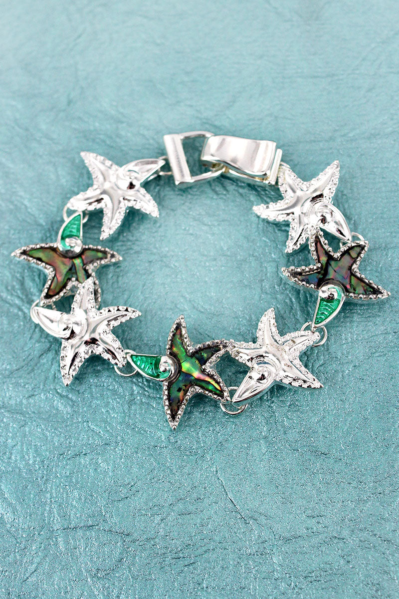 Silvertone and Abalone Starfish Swirl Magnetic Bracelet