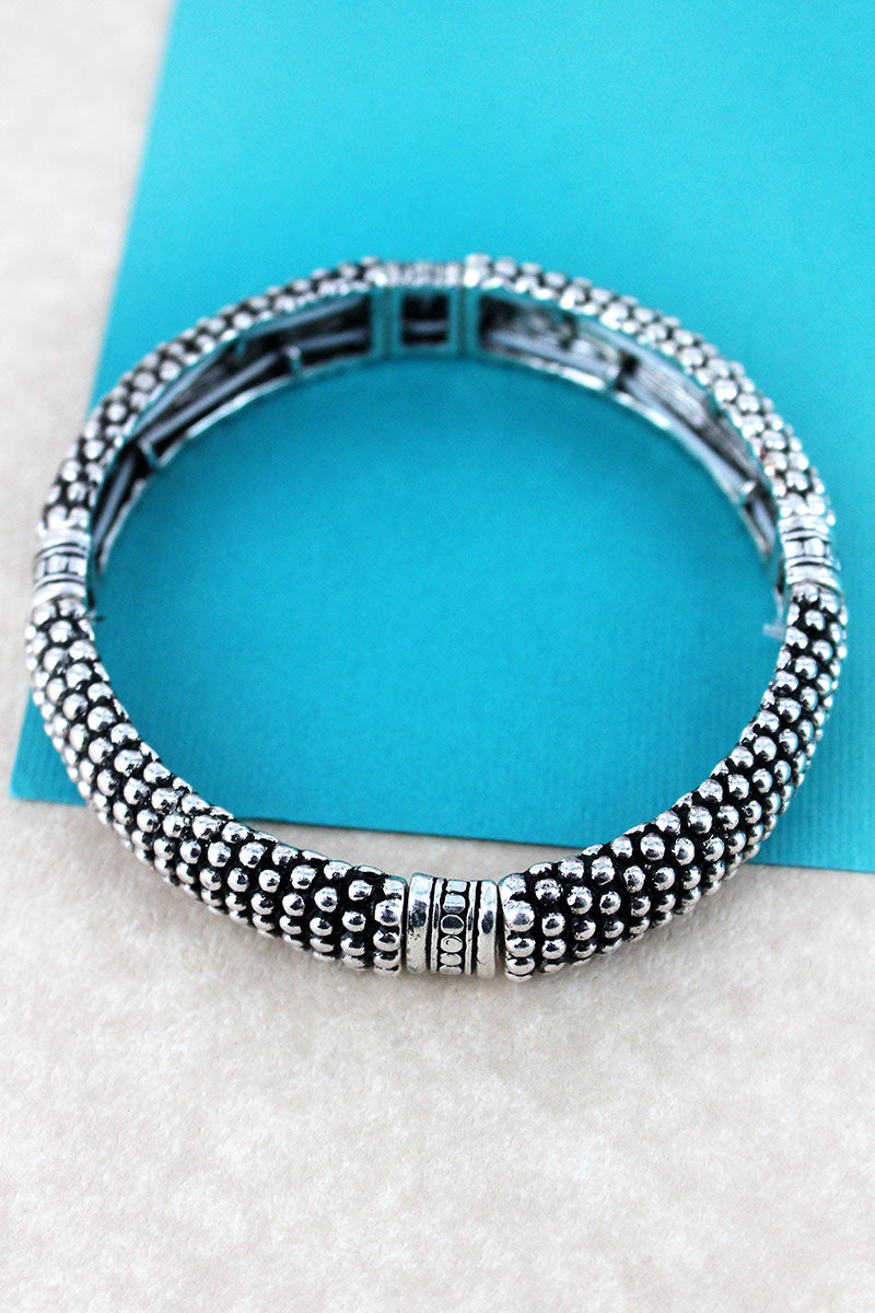 Antique Silvertone Dotted Stripes Ball Textured Bracelet