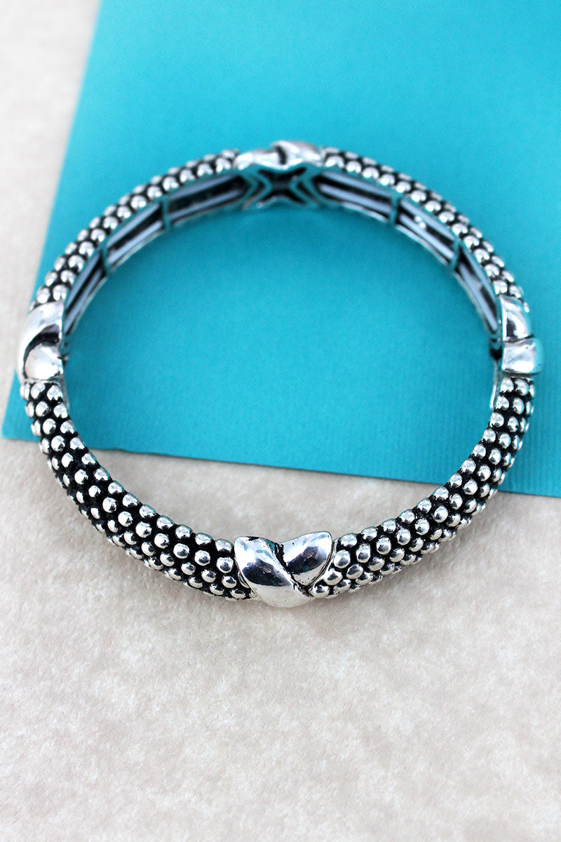 Antique Silvertone Criss-Cross Ball Textured Bracelet