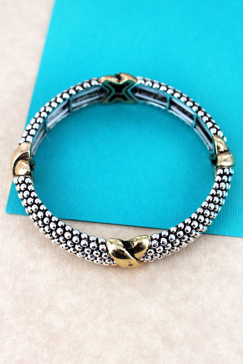 Silvertone and Goldtone Criss-Cross Ball Textured Bracelet