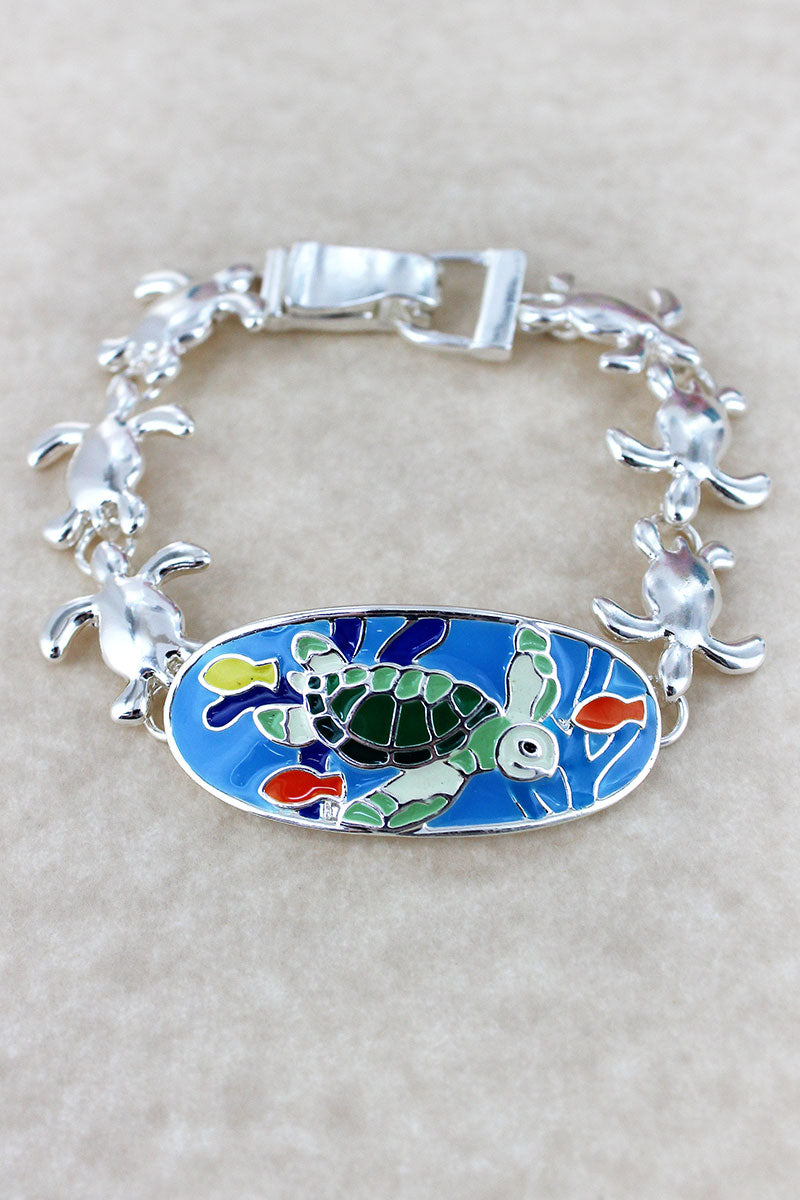 Colorful Turtle Oval Silvertone Magnetic Bracelet