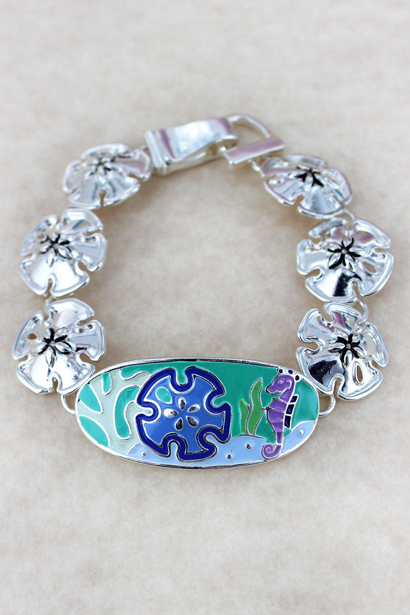 Colorful Sea Life Oval Silvertone Magnetic Bracelet