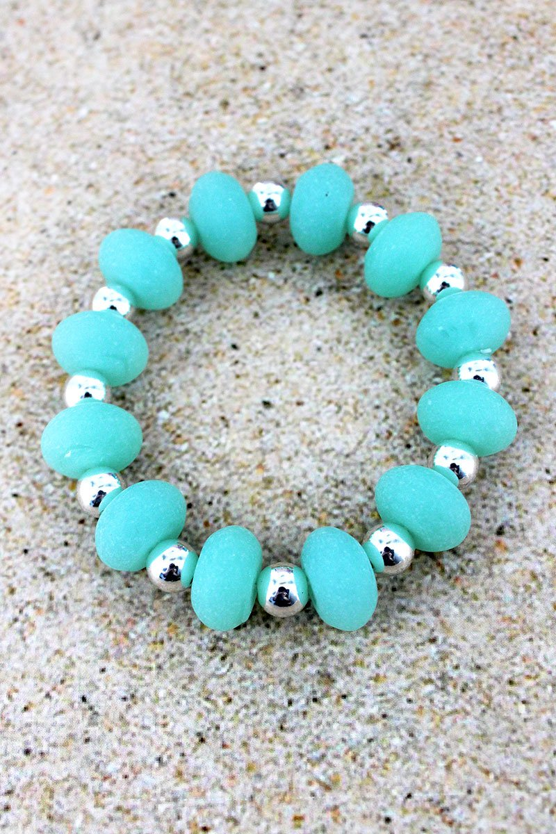 Turquoise Sea Glass and Silvertone Bead Stretch Bracelet