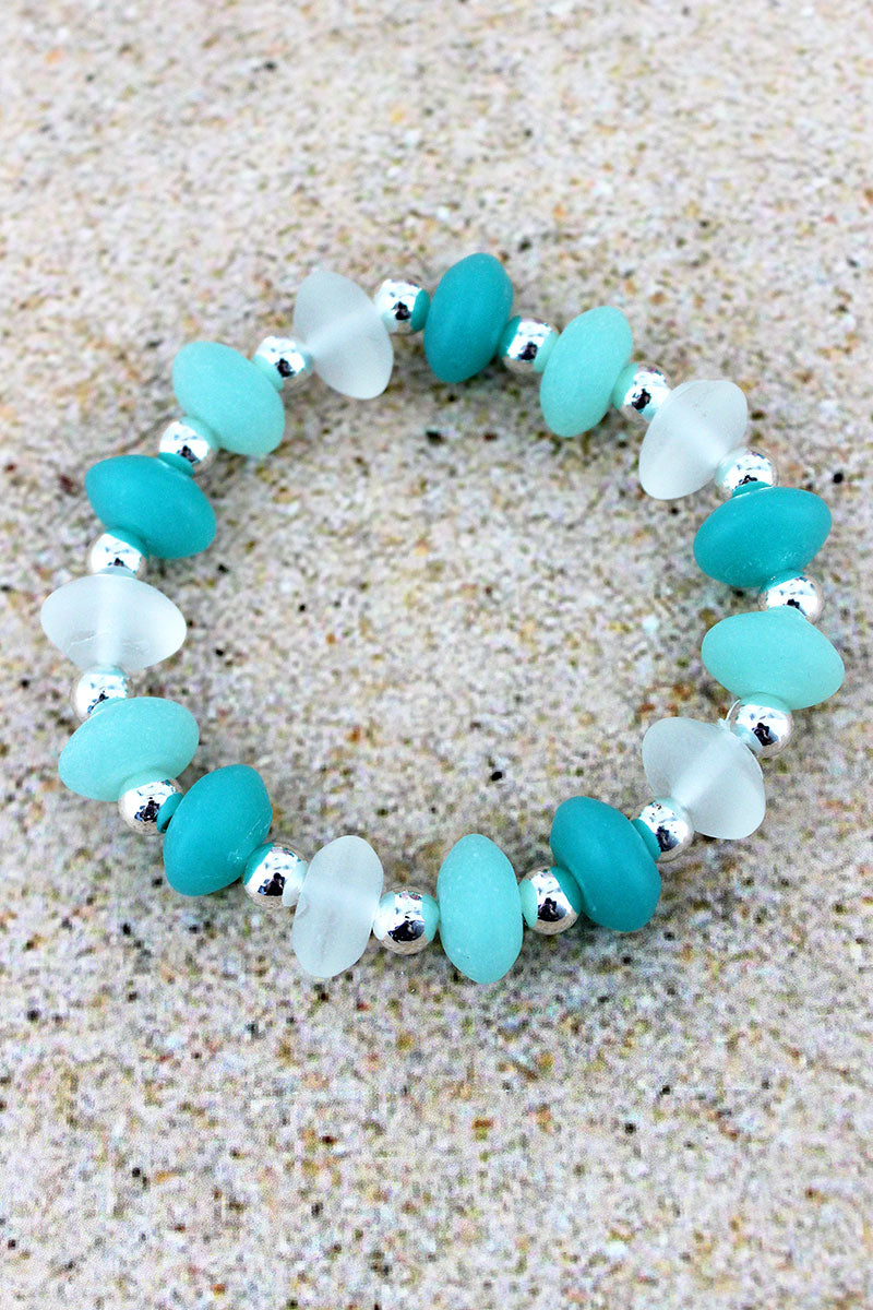 Tri-Color Sea Glass and Silvertone Bead Stretch Bracelet