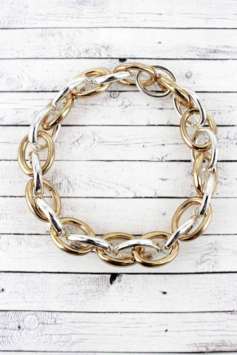 Two-Tone Chain Link Bracelet