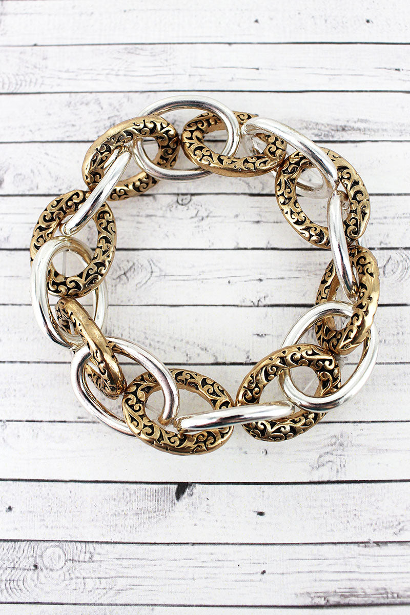 Two-Tone Scroll Textured Link Bracelet