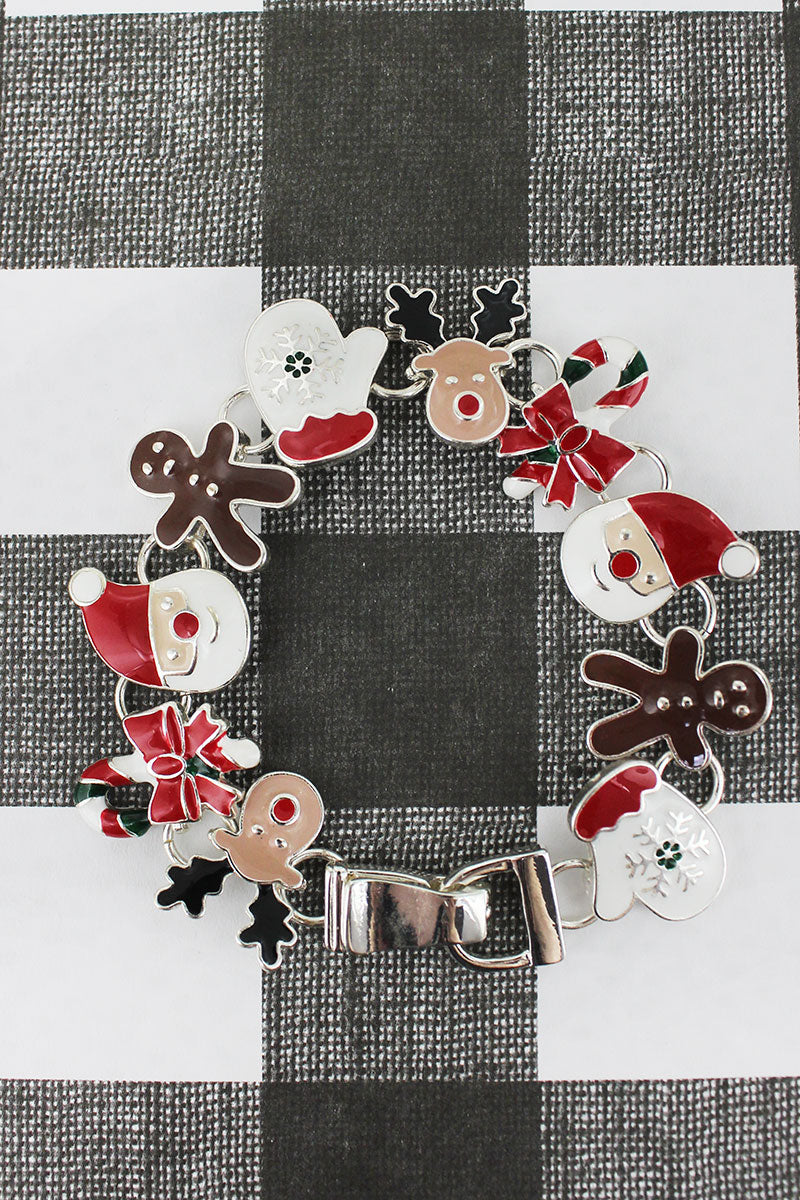 Christmas Characters Silvertone Magnetic Bracelet