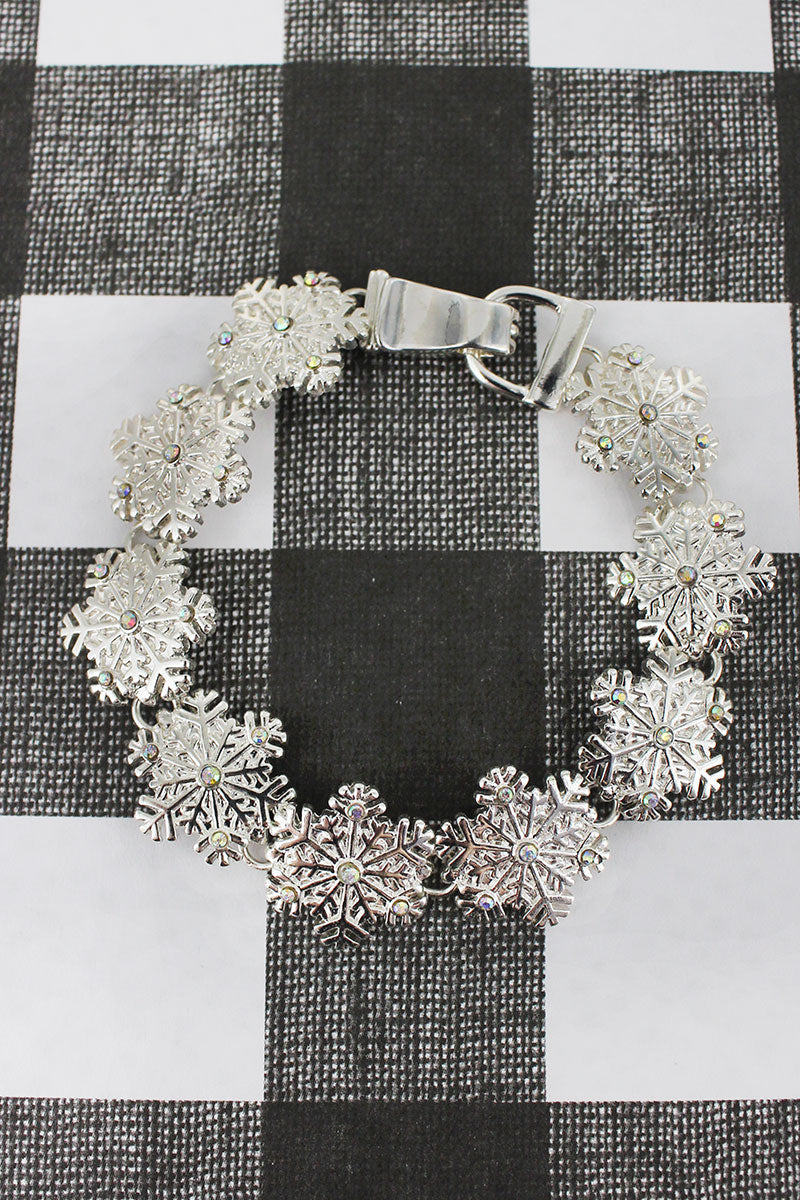 Silvertone and Crystal Snowflake Magnetic Bracelet