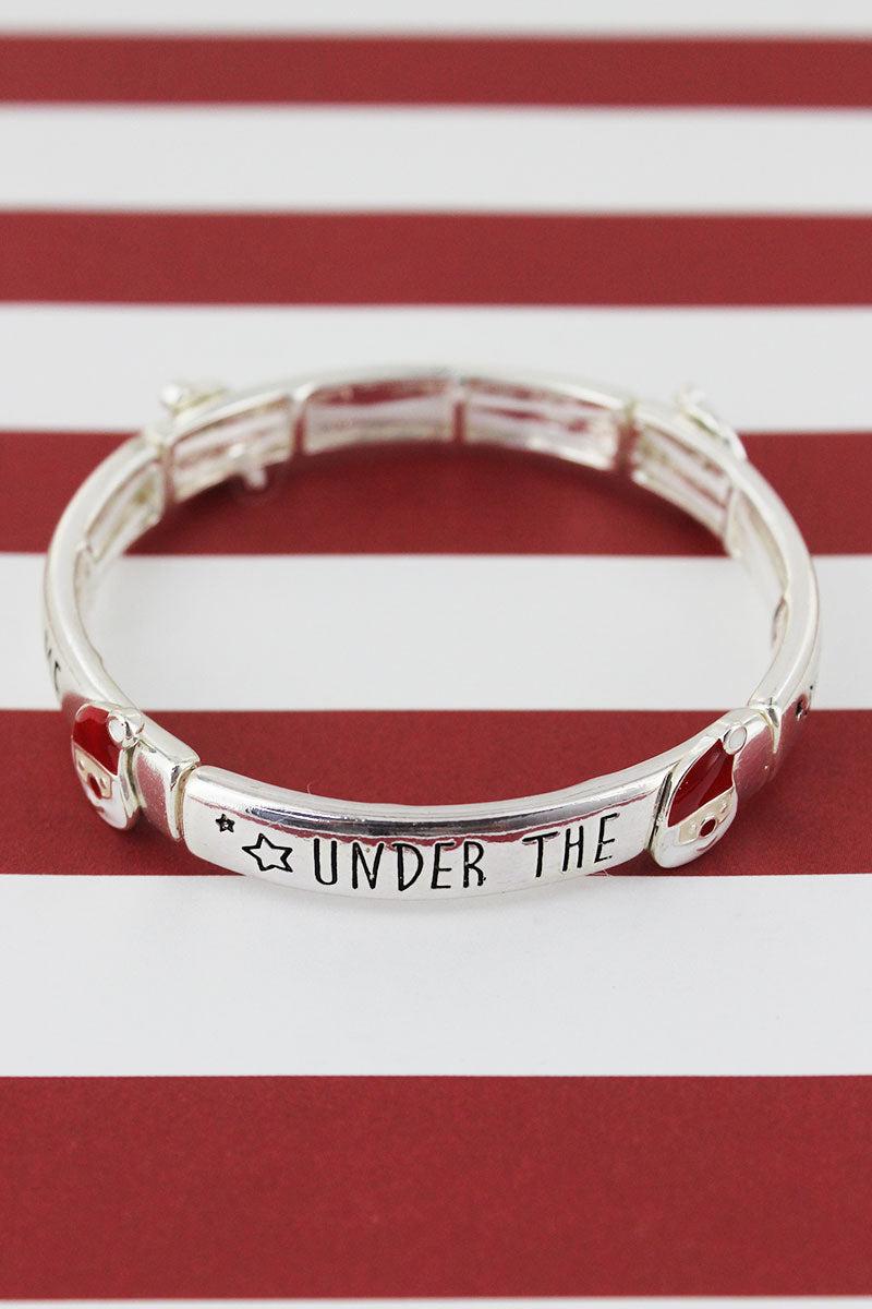 Silvertone 'Under The Mistletoe' Santa Claus Bracelet
