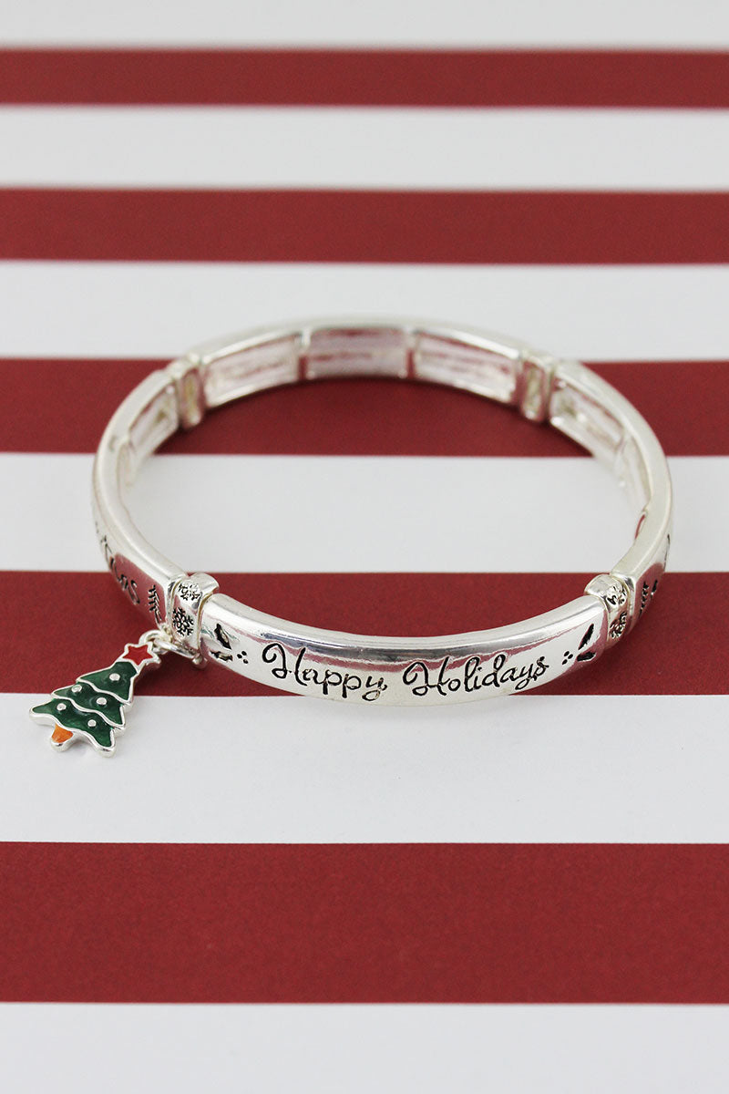 Silvertone 'Happy Holidays' Christmas Tree Charm Bracelet