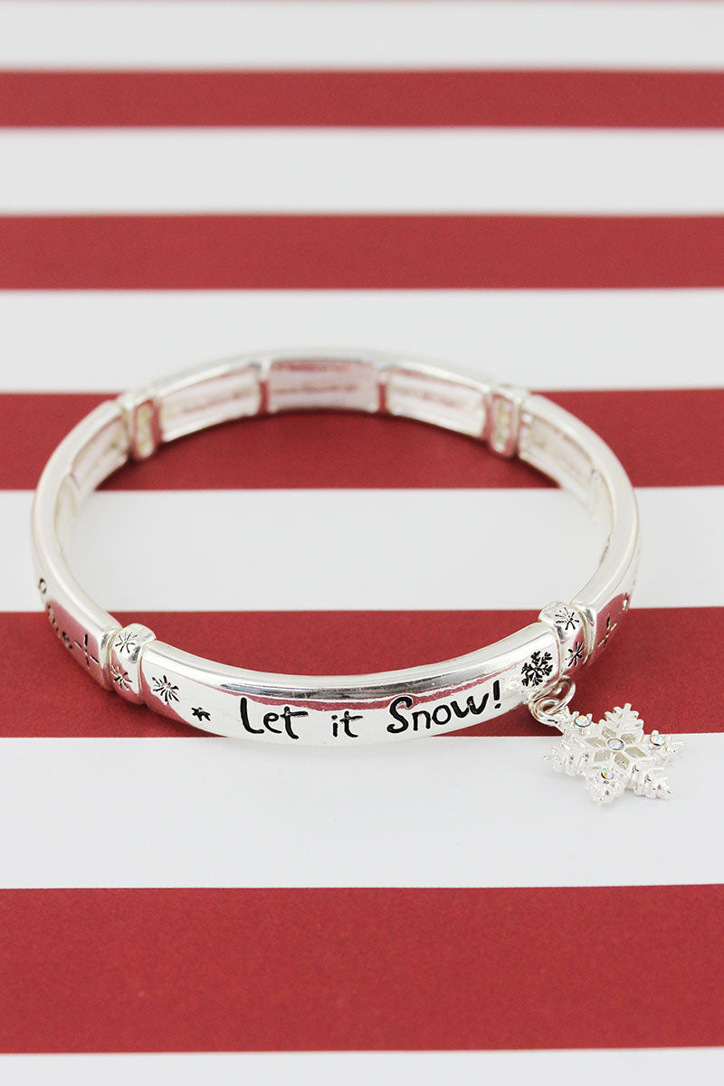 Silvertone 'Winter Is Here' Snowflake Charm Bracelet