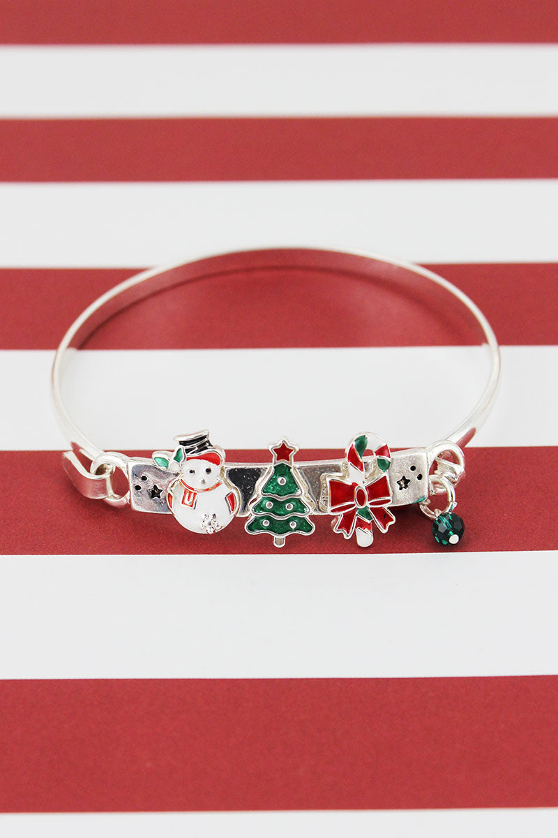 Snowman, Christmas Tree, and Candy Cane Charm Silvertone Bracelet