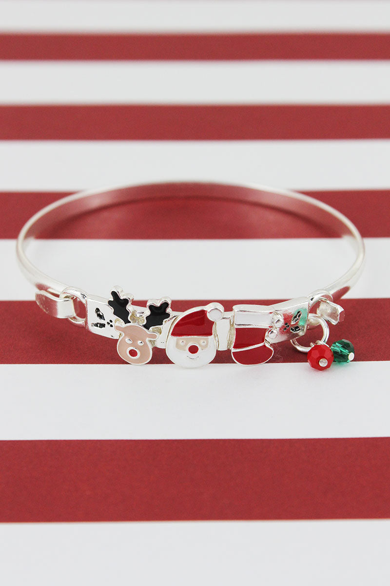 Rudolph, Santa Claus, and Stocking Charm Silvertone Bracelet