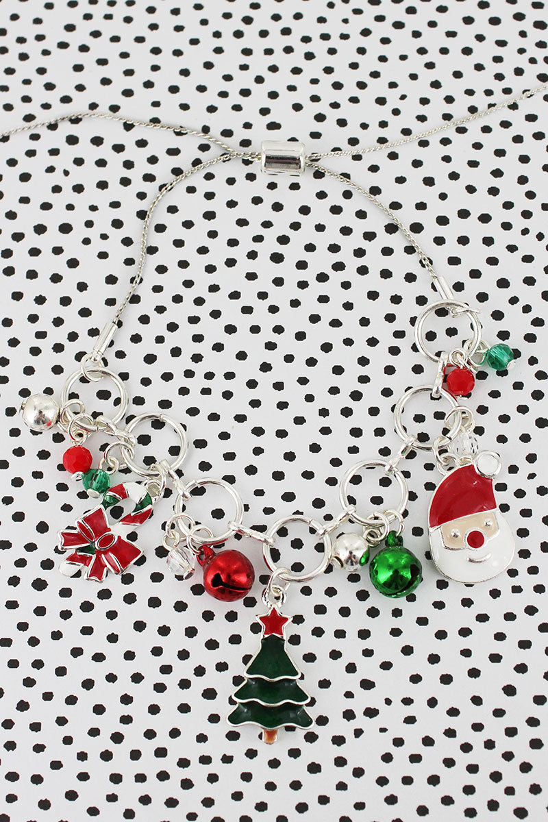 Christmas Charm Silvertone Adjustable Bracelet