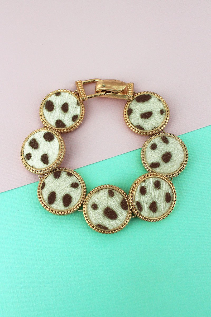 Ivory Cheetah and Worn Goldtone Disk Magnetic Bracelet
