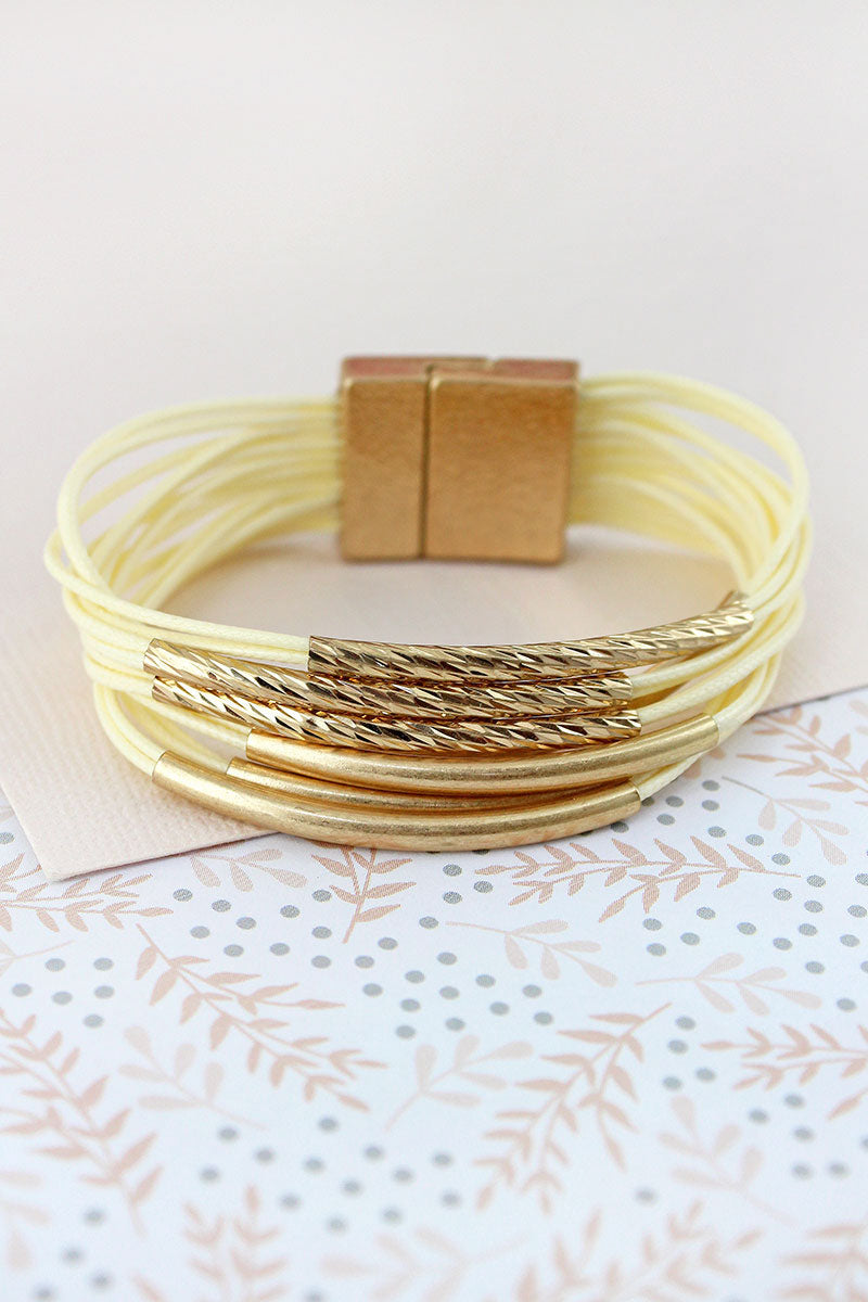Worn Goldtone Bar Ivory Multi-Cord Magnetic Bracelet
