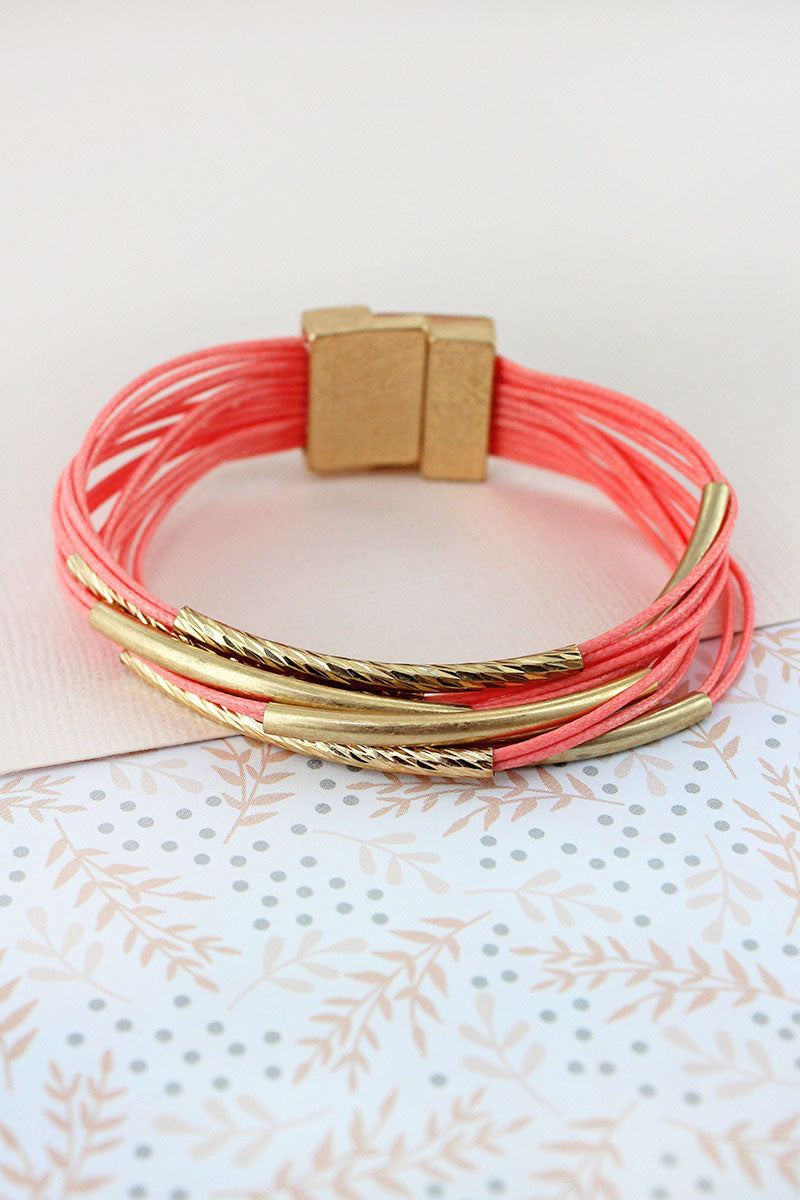 Worn Goldtone Bar Dark Peach Multi-Cord Magnetic Bracelet