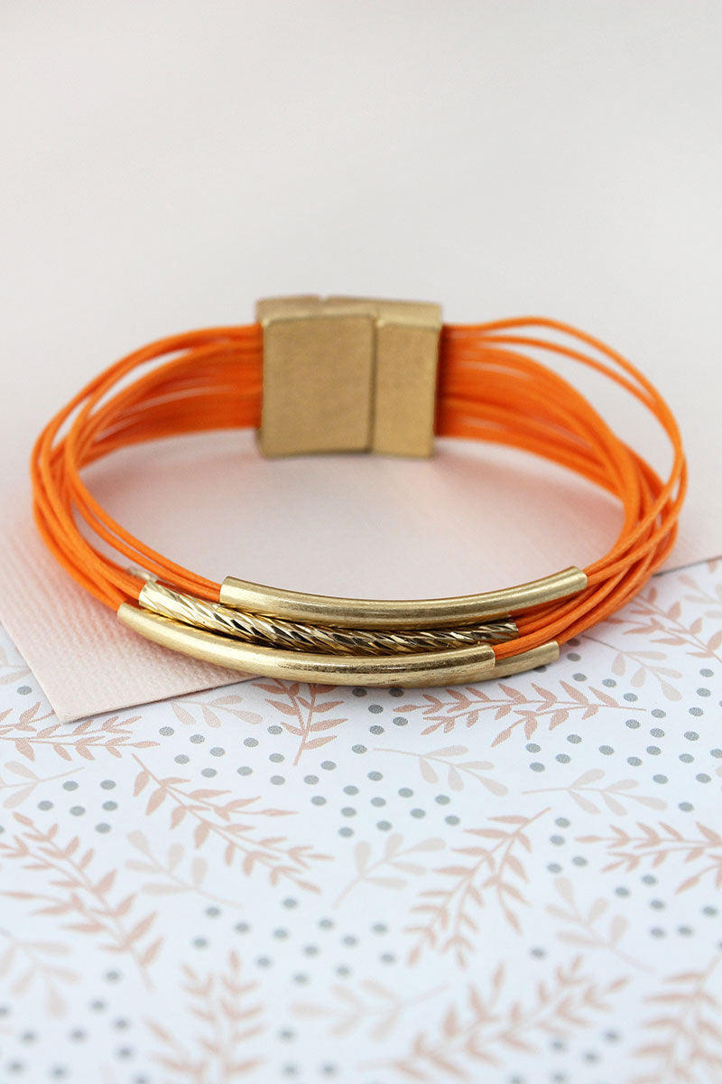 Worn Goldtone Bar Tangerine Multi-Cord Magnetic Bracelet