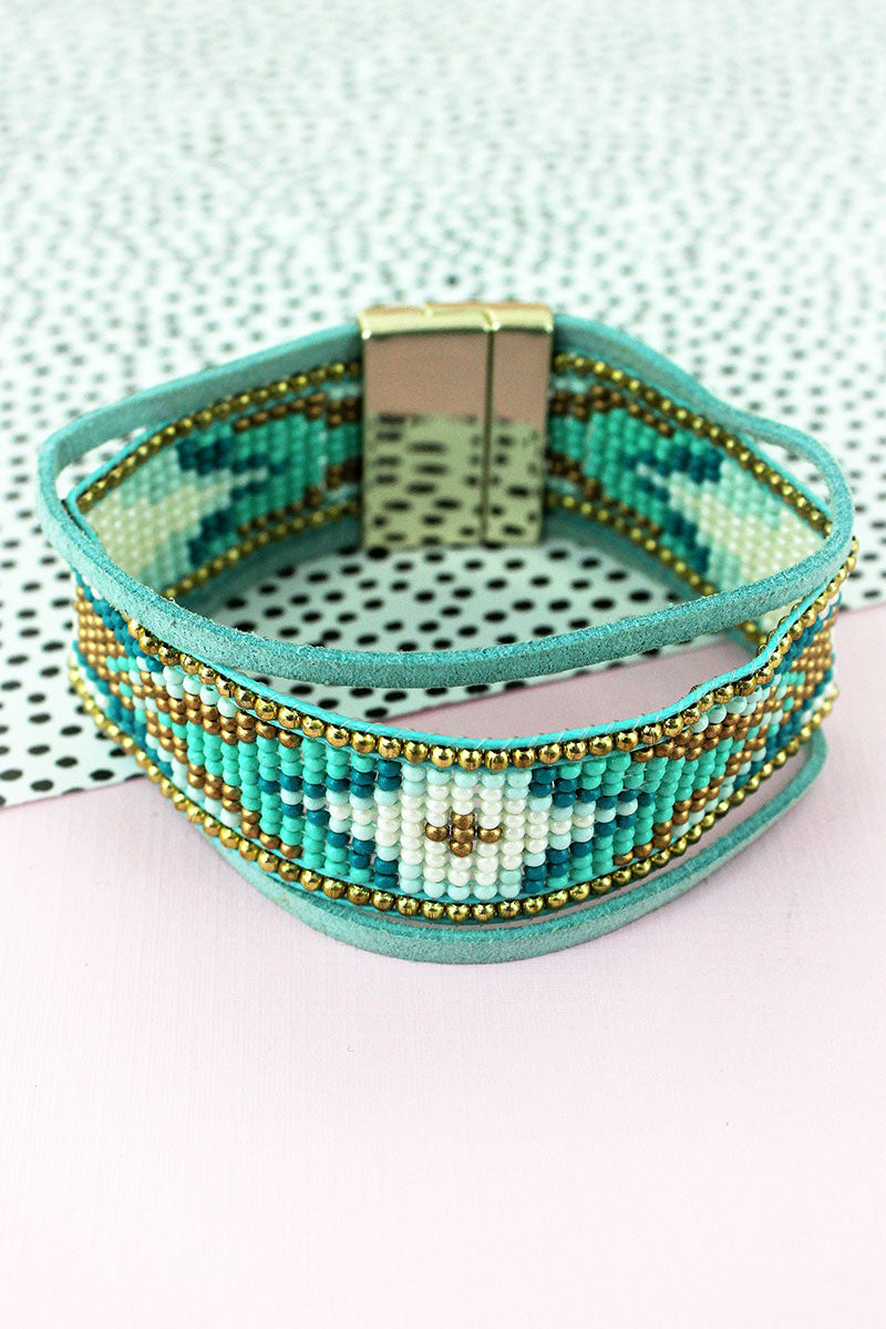 Mint Multi-Color Seed Bead and Faux Suede Cord Magnetic Bracelet