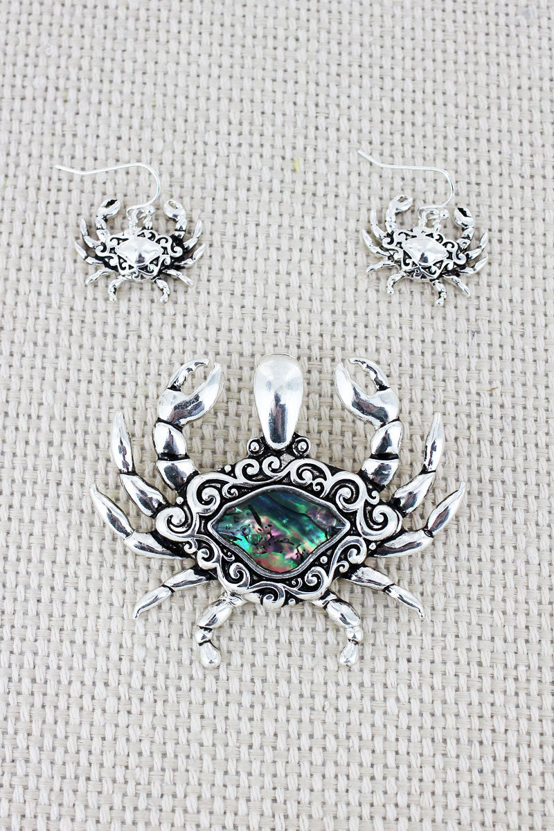 Silvertone Scroll and Abalone Crab Pendant and Earrings Set