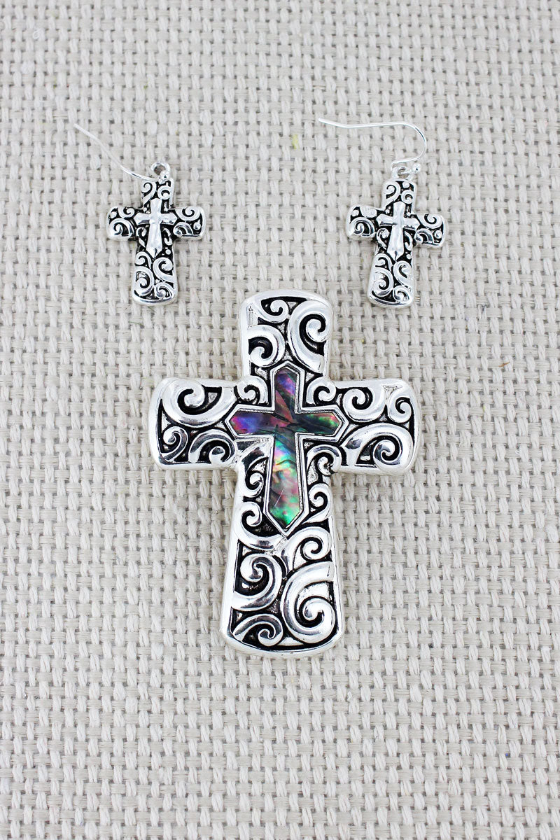 Silvertone Scroll and Abalone Cross Pendant and Earrings Set