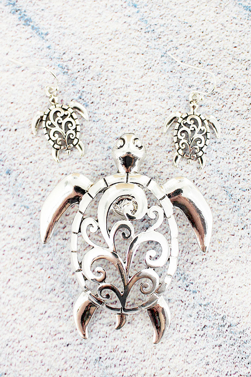 Silvertone Scroll Cut-Out Turtle Pendant and Earring Set