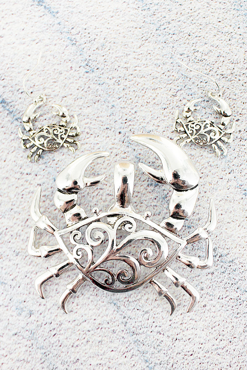 Silvertone Scroll Cut-Out Crab Pendant and Earring Set