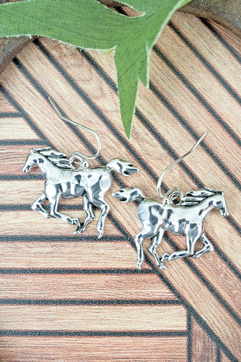 Silvertone Horse Dangling Earrings