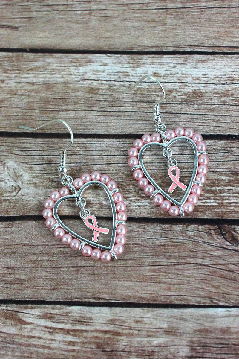 Pink Pearl Heart with Pink Ribbon Charm Earrings