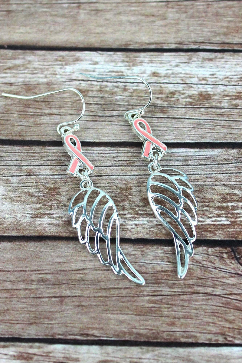 Pink Ribbon and Silvertone Wing Earrings