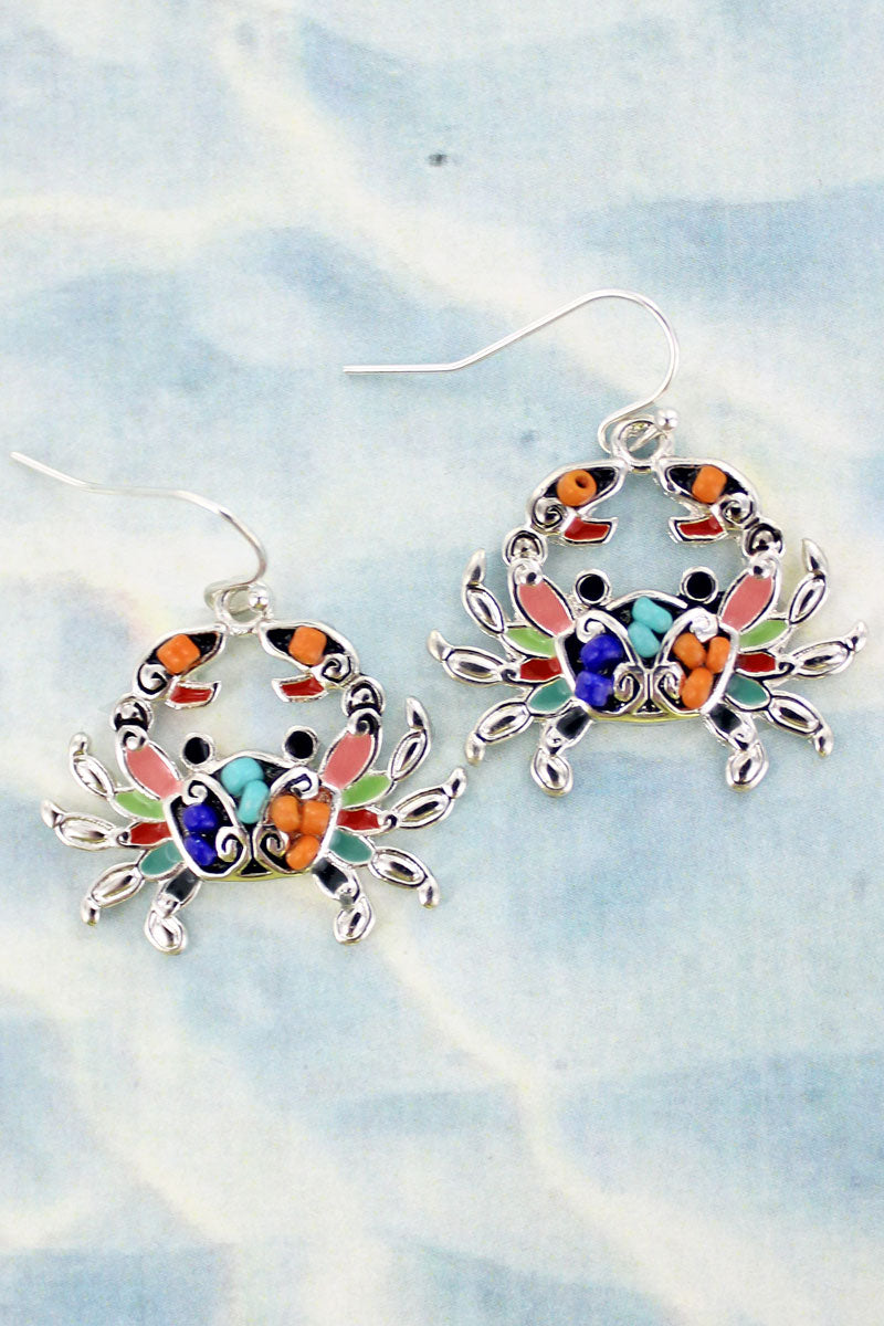 Mosaic Art Crab Earrings