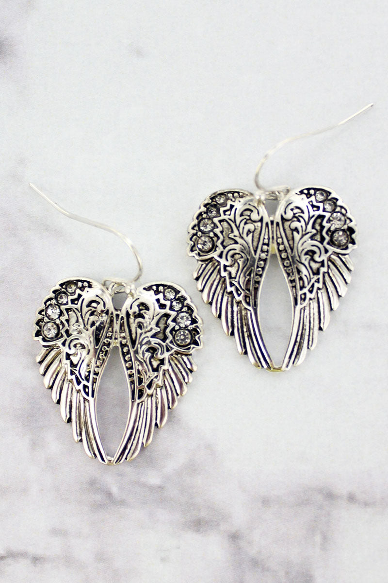 Crystal Accented Silvertone Angel Wings Earrings