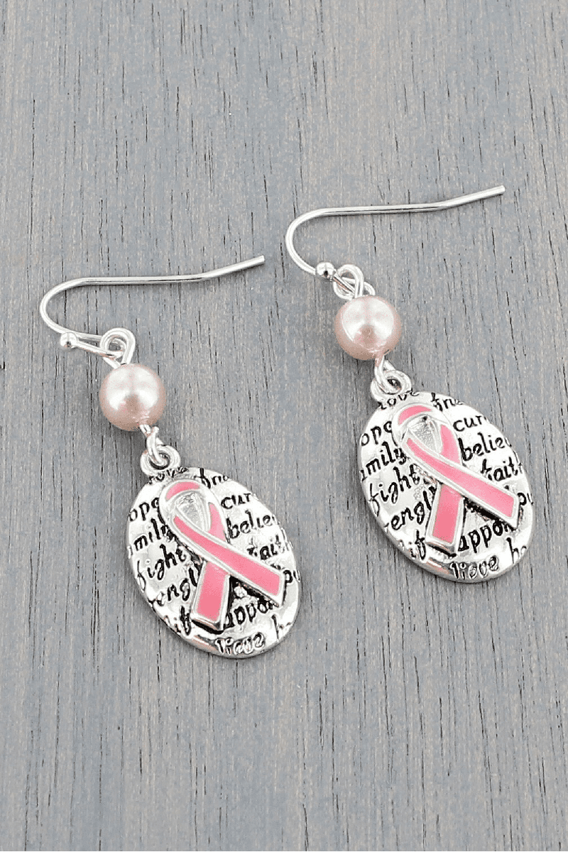 Layered Pink Ribbon and Silvertone Oval Earrings #AE1549-ASP