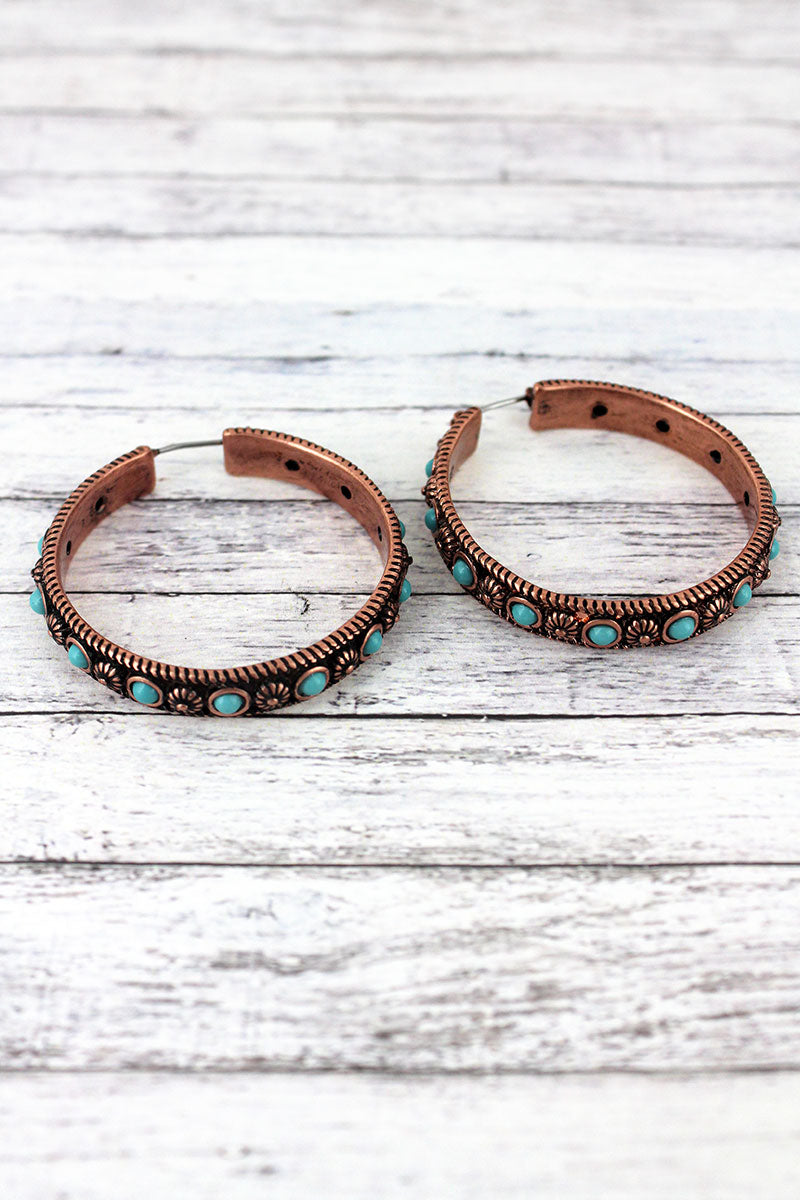 Turquoise Beaded Coppertone Flower Hoop Earrings, 1.5""