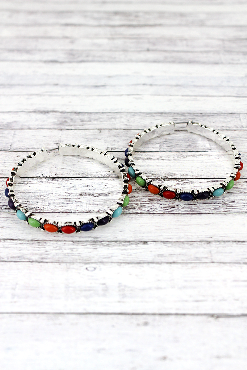 Multi-Color Beaded Silvertone Hoop Earrings, 2""
